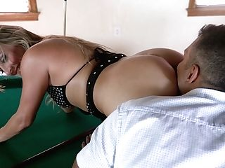 Trampy Bitch With Nice Booty Spreads Gams On The Billiard Table For Mish