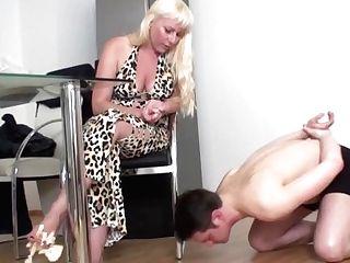 'bizarrlady Jessica Feeding Sub Bobby With Cheese From Her Feet'