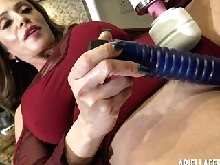 Faux Tittied Mummy Ariella Ferrera Is Masturbating Cunt With Different Hook-up Playthings