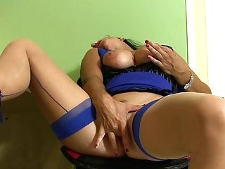Cougar In The Office In Sexy Sundress Blue