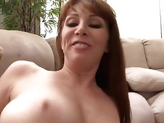 Crimson Haired Cougar Got Jism All Over Her Natural Tits After A Casual Fuck With Her Neighbor