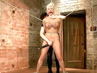 Buxom Blonde Is Tied In Lesbo Domination