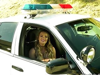 Sitting In Cop's Car Perverted Pornography Actress Cali Carter Holds Interview