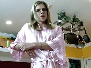 Pink Cigar Loving Blonde Housewife With Glasses Is Providing Oral Jobs To Her Step- Sonnie Before Fucking Him