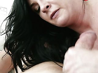 Nasty Dark-haired Mummy Lola Sugary Rails Hard Dick With Her Stocking On